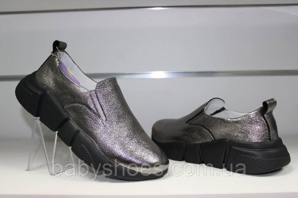 Модные кроссовки слипоны женские Ditas, кожа р-ры 36-41