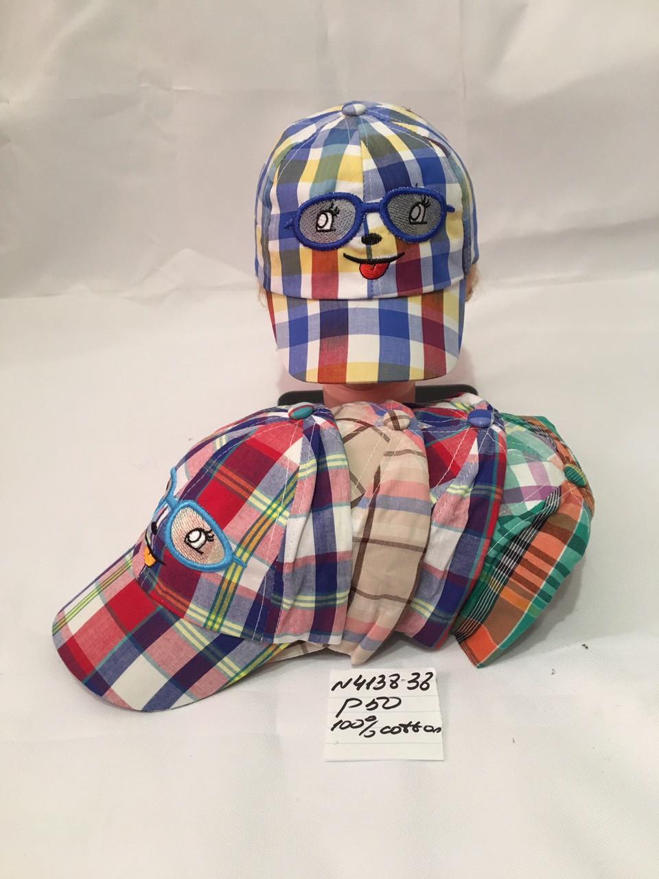 Кепка в клітку дитяча для хлопчика р. 50 100% cotton