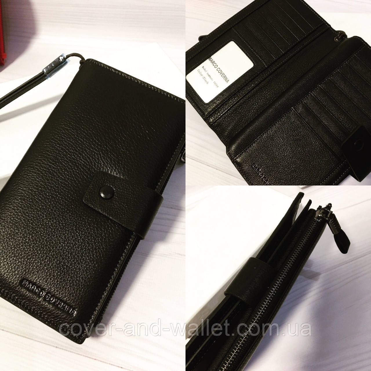 5647269db8d7 Стильный кожаный кошелек клатч черного цвета Marco Coverna - cover and  wallet (обложка и кошелек