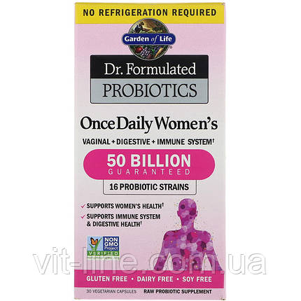 Garden of Life, Розроблені доктором пробіотики, вітамінний комплекс Once Daily women's, 30 капсул, фото 2