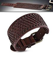 Широкий кожаный браслет с бронзовой пряжкой