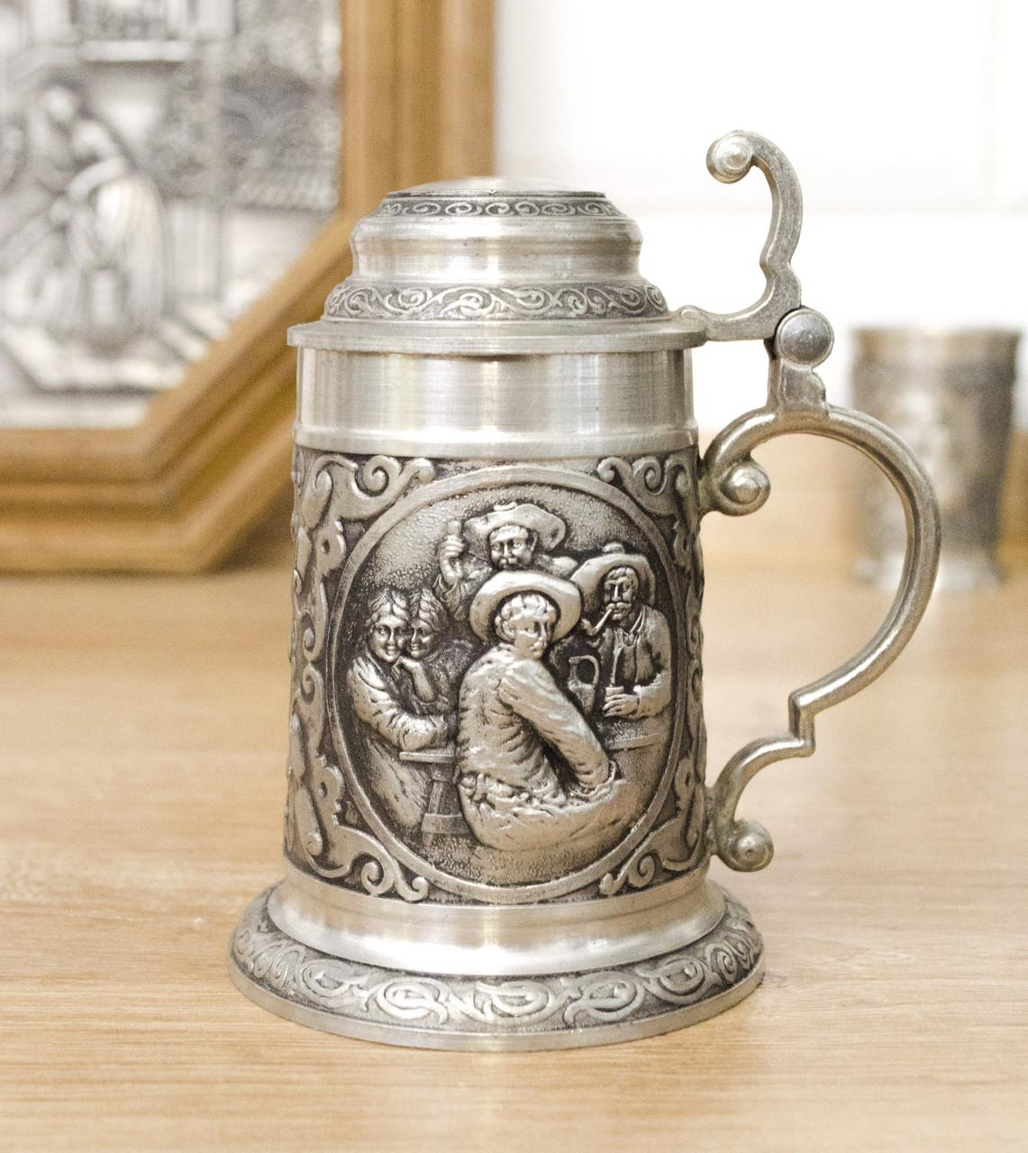 Коллекционный оловянный мини бокал, пищевое олово, Германия, трактир