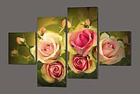 Модульная картина цветы Розы 160*114 см Код: 393.4к.160