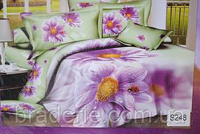 Сатиновое постельное белье евро 3D Люкс Elway S248 Божья коровка