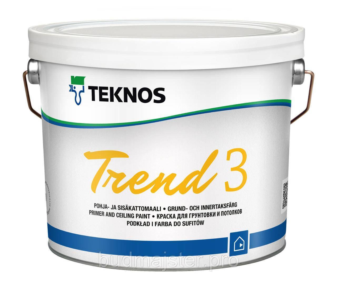 Фарба Teknos TREND 3 для грунтування та стель, 2,7 л