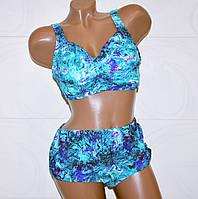 Шикарный раздельный купальник для полных женщин сине-голубой Буря размер 5XL (56)