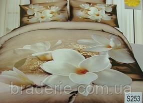 Сатиновое постельное белье евро 3D Люкс Elway S253