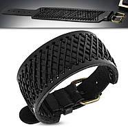 Широкий кожаный браслет черный с бронзовой пряжкой, фото 1