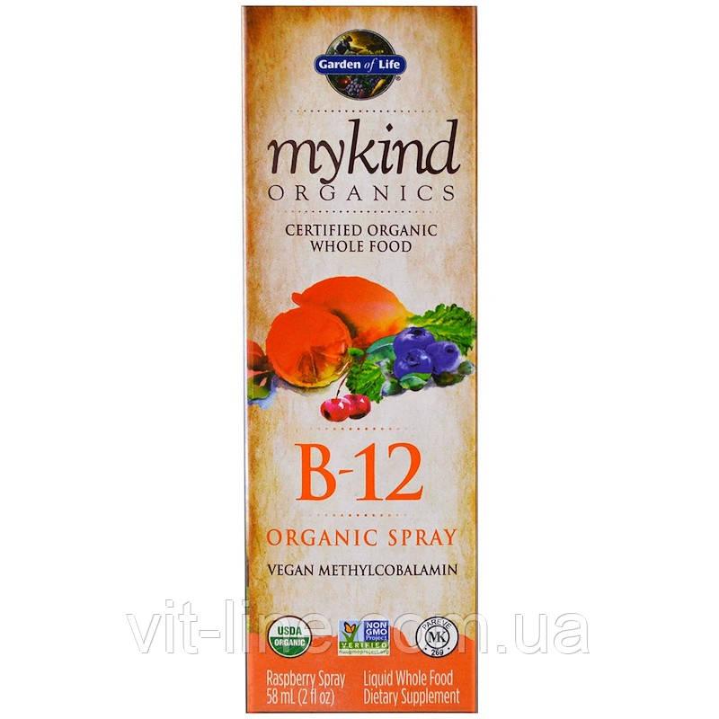 Garden of Life Органический спрей с витамином B-12, со вкусом малины, (58 мл)
