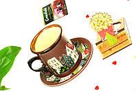"""Подарочный чайный набор на 8 марта """"аромат весны"""", керамическая чашка с праздничной деревянной открыткой"""