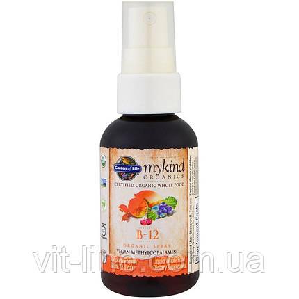 Garden of Life Органический спрей с витамином B-12, со вкусом малины, (58 мл), фото 2