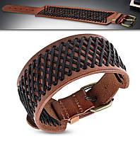 Широкий кожаный браслет коричневый с черным плетением