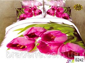 Сатиновое постельное белье евро 3D Люкс Elway S242 Тюльпан