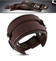 Широкий браслет напульсник кожаный с бронзовыми кнопками