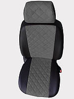 Чехлы на сиденья Чери Амулет (Chery Amulet) (модельные, экокожа Аригон+Алькантара, отдельный подголовник) Черно-серый