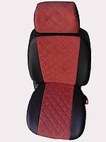 Чехлы на сиденья Чери Амулет (Chery Amulet) (модельные, экокожа Аригон+Алькантара, отдельный подголовник) Черно-красный