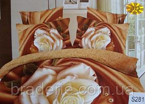 Сатиновое постельное белье евро 3D Люкс Elway S281 Белая роза