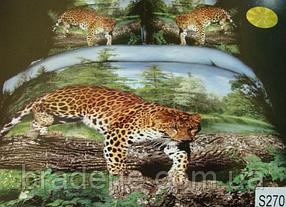 Сатиновое постельное белье евро 3D Люкс Elway S270 Джунгли