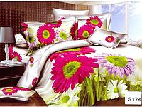Сатиновое постельное белье евро 3D Люкс Elway S174 Ромашки
