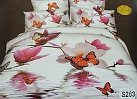 Сатиновое постельное белье евро 3D Люкс Elway S283 Бабочки