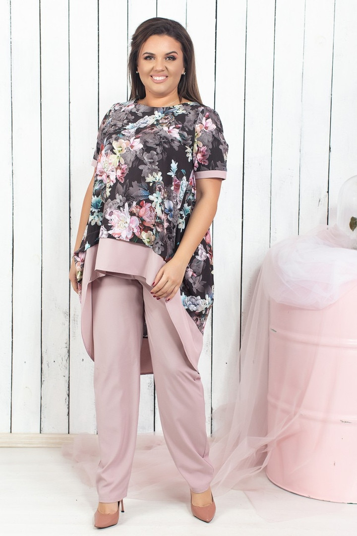 Женский брючный костюм с ассиметричной блузой в цветочный принт 50-52, 54-56, 58-60