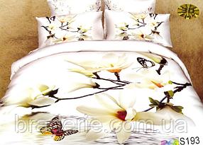 Сатиновое постельное белье евро 3D Люкс Elway S193 Белый