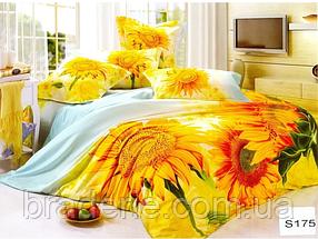 Сатиновое постельное белье евро 3D Люкс Elway S175 Подсолнухи