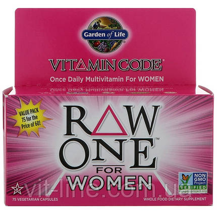 Garden of Life, Натуральні вітаміни для жінок Once Daily Multi-Vitamin for Women, 75 капсул, фото 2
