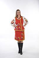 Национальный женский костюм, женская вышитая плахта, вышитый жилет.