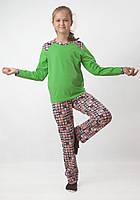 Трикотажная яркая пижама для девочки (рост 134-158), фото 1
