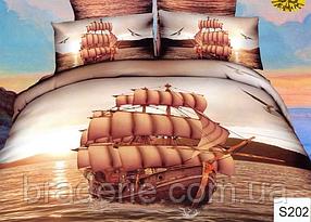 Сатиновое постельное белье евро 3D Люкс Elway S202