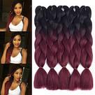 🖤❤️ Канекалон чёрный-бордо, косы для впелетения в волосы, разнообразные причёски 🖤❤️ , фото 2