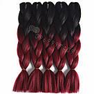 🖤❤️ Канекалон чёрный-бордо, косы для впелетения в волосы, разнообразные причёски 🖤❤️ , фото 4