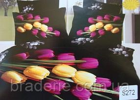 Сатиновое постельное белье евро 3D Люкс Elway S272 Тюльпаны