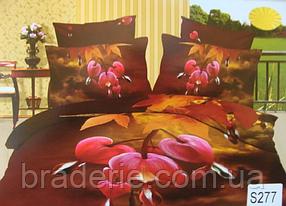 Сатиновое постельное белье евро 3D Люкс Elway S277