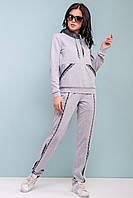 Женский спортивный костюм весна/осень 44-50 размера серо-черный, фото 1