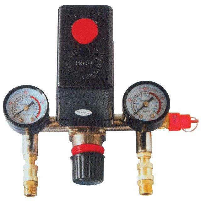 Прессостат в сборе (прессостат, редуктор, 2 манометра, предохранительный клапан, два выхода) INTERTOOL PT-9094