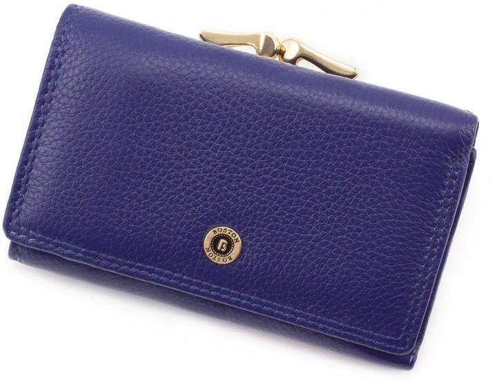 Горизонтальный компактный женский кошелек из натуральной кожи Boston синего цвета S1201B Blue