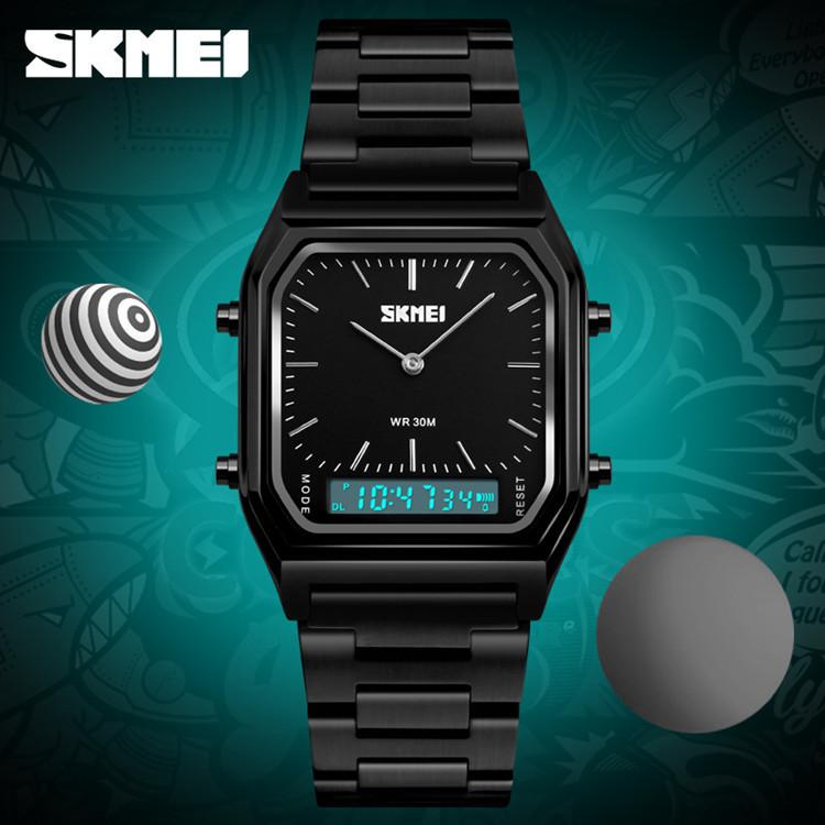 Skmei 1220 tango черные с черним циферблатом мужские часы