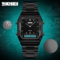 Skmei 1220 tango черные с черним циферблатом мужские часы, фото 1
