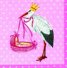 Декупажные салфетки новорожденная (розовая) 393
