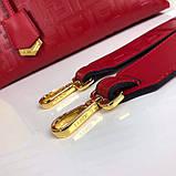 Сумка от Фенди модель Boston натуральная кожа, цвет красный, фото 2