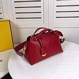Сумка от Фенди модель Boston натуральная кожа, цвет красный, фото 7