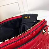 Сумка от Фенди модель Boston натуральная кожа, цвет красный, фото 9