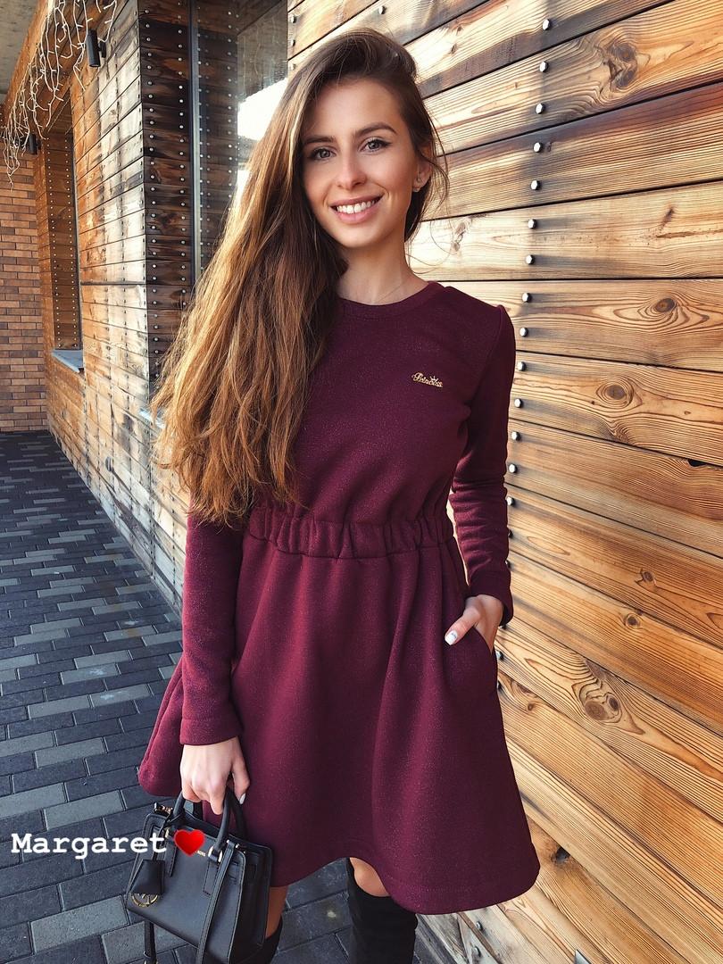 Платье, трехнить на флисе с люрексом. Размер:42-44. Цвета разные. (6108)
