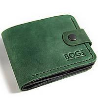 405dd45022dd Мужское портмоне ручной работы из кожи BOGZ Classic Maxi Green/Black P24M9S6