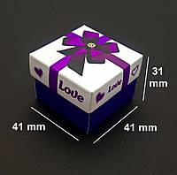 Подарочная коробка для бижутерии, с поролоновым вкладышем, фиолетовая