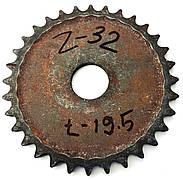 Зірочка Z-32 крок ланцюга t-19.5 діаметр отвору 44мм.