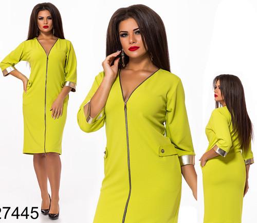 Яркое женское платье с змейкой (лайм) 827445