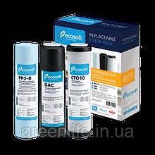 Покращений комплект картриджів, Ecosoft 1-2-3 для фільтра зворотного осмосу